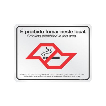 Placa de alumínio lei antifumo 180SP - Sinalize