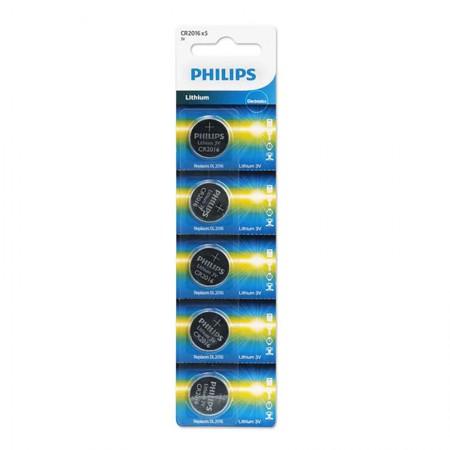 Bateria litio 3 volts - com 5 unidades - CR2016 - Philips