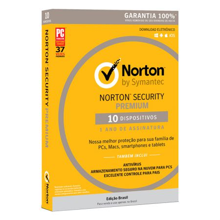 Antivírus Norton Security 3.0 licença de uso - 10 dispositivos - Symantec
