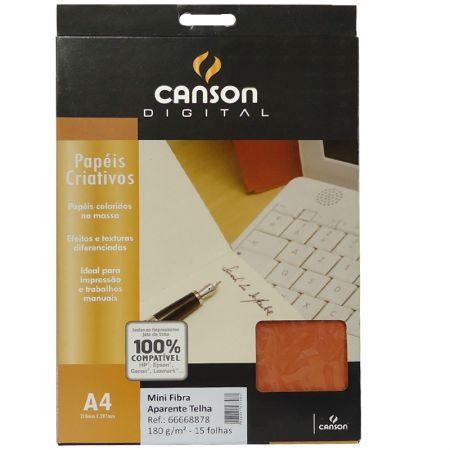 Papel mini fibra aparente A4 180g telha - com 15 folhas - Canson