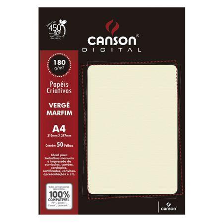 Papel vergê A4 180g marfim - com 50 folhas - Canson