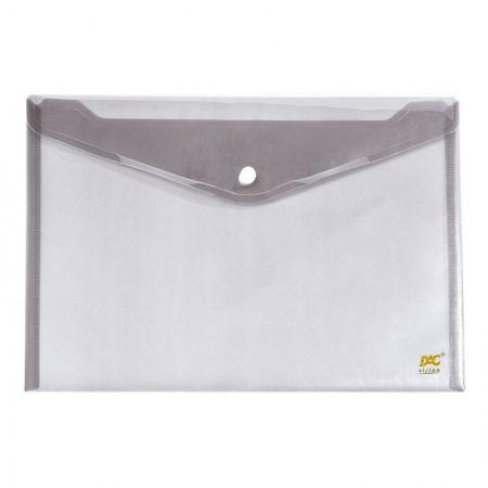 Envelope plástico com botão ofício 645PP-TR Cristal Dac