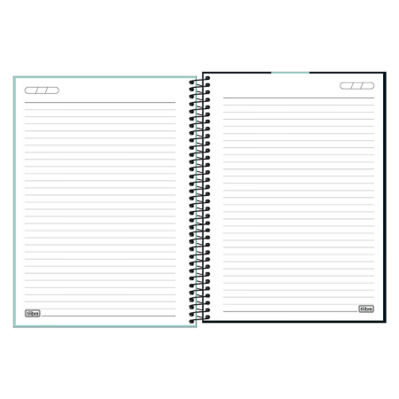 Caderno capa plástica universitário 1x1 Neon Turquesa 80 Fls - Tilibra