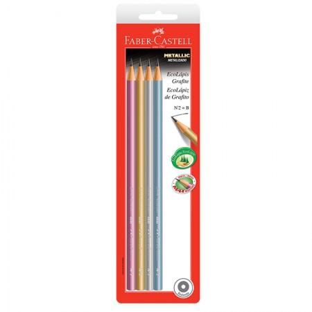 Lápis preto max Metallic nr 2B - SM/1210MET - com 4 unidades - Faber-Castell