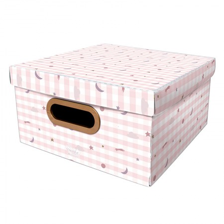 Caixa Organizadora média linho - pequenos astros rosa - 2328 - Dello