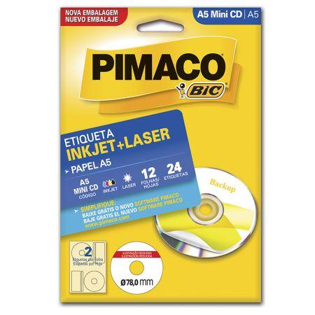 Etiqueta inkjet/laser A5MINICD - Pimaco