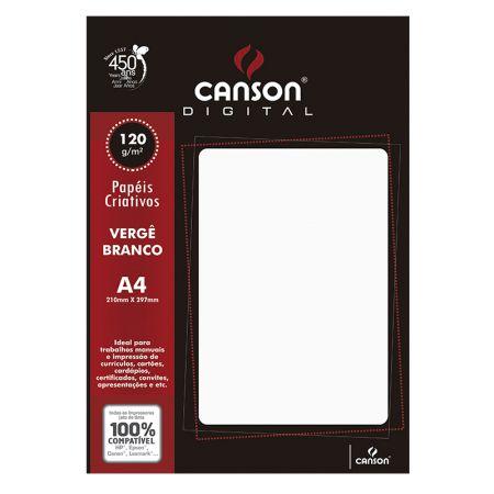 Papel vergê A4 120g branco - com 30 folhas - Canson
