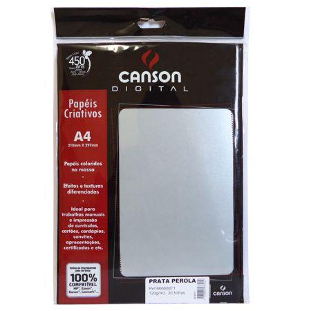 Papel metalizado A4 120g prata perolado - com 30 folhas - Canson
