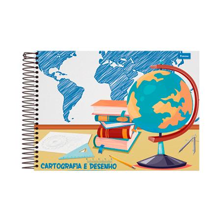 Caderno espiral capa dura cartografica milimitrado - 96 folhas - Foroni
