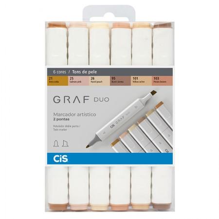 Caneta marcador artistico Graf Duo - 6 cores tons de pele - Cis
