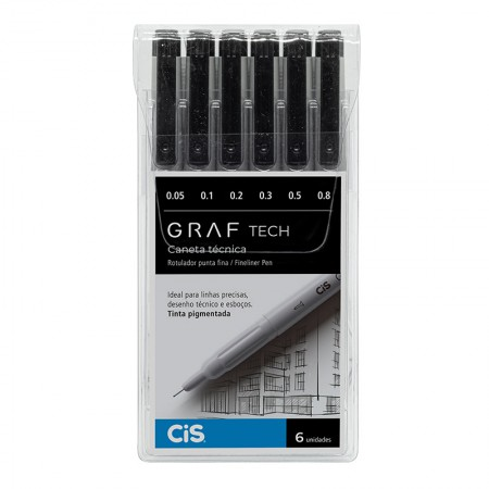 Caneta técnica Graf Tech Fineliner Pen - com 6 unidades - Cis