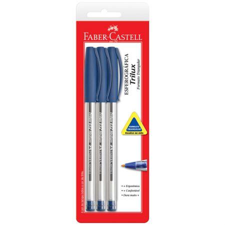 Caneta esferográfica Trilux - SM/032AZ - azul  - com 3 unidades - Faber-Castell