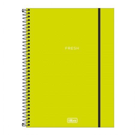 Caderno capa plástica universitário 10x1 Neon Verde Limão 160 Fls - Tilibra
