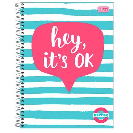 Caderno espiral capa dura universitário 10x1 - 160 folhas - Pepper Hey Its Ok - Tilibra
