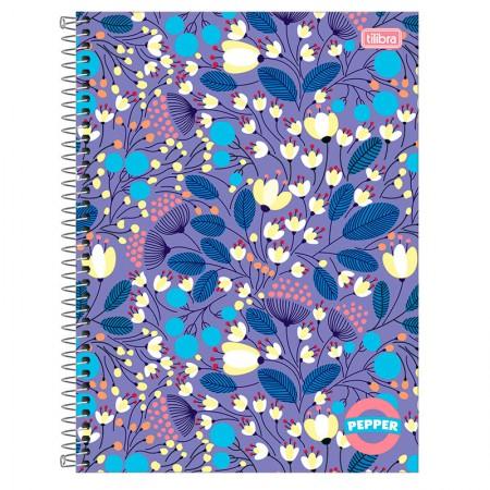 Caderno espiral capa dura universitário 10x1 - 160 folhas - Pepper Flores - Tilibra