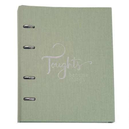Caderno argolado Ultra Cotton - 190 folhas - Fichário Verde - 9005-0 - Ótima