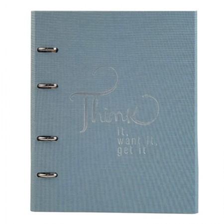 Caderno argolado Ultra Cotton - 190 folhas - Fichário Azul - 9002-9 - Ótima