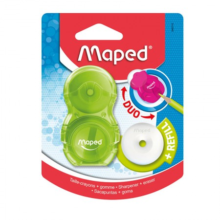 Apontador com coletor + borracha - Loopy - 049110 - Verde - Maped