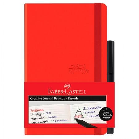 Caderneta Criative Journal pautado - 84 folhas - vermelho - CDNETA/VM - Faber-Castell