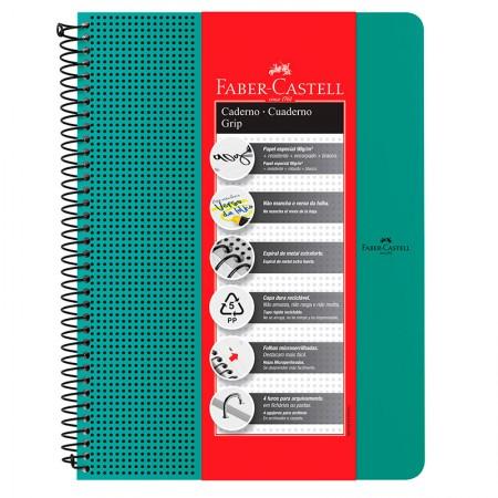 Caderno grip pautado A4 - 80 folhas - verde água - CDNOFF/VD - Faber-Castell