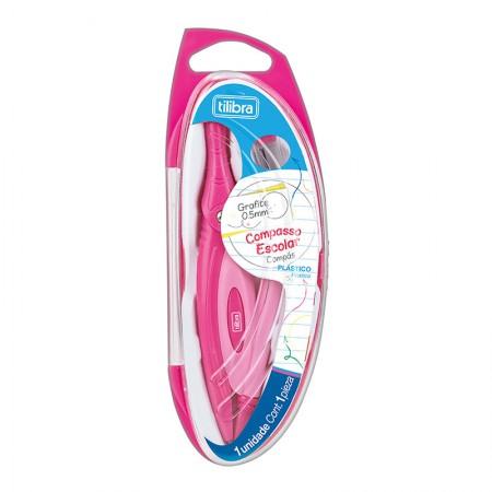 Compasso Plástico sem tira linha com estojo - Rosa - Tilibra