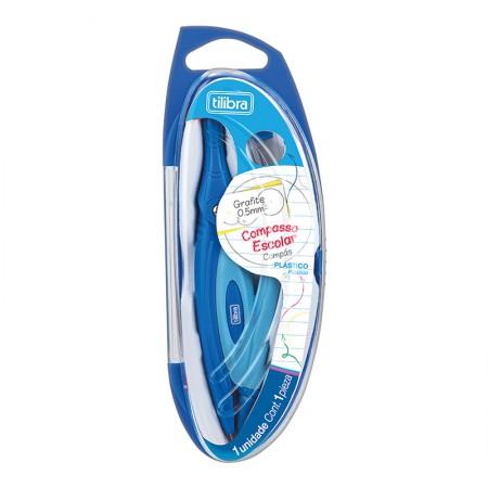 Compasso Plástico sem tira linha com estojo - Azul - Tilibra