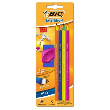 Lápis preto Evolution Colors 1 - com 4 unidades + borracha - Bic