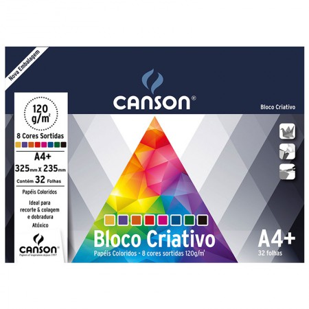 Bloco Criativo Cards A4+ 325x235mm 120g 8 cores 32fls Canson