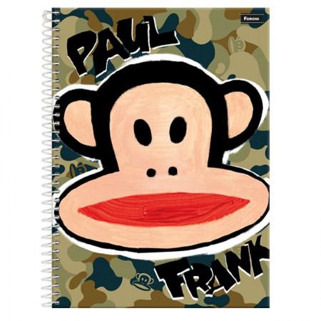 Caderno espiral capa dura universitário 1x1 - 96 folhas - Paul Frank - Exército - Foroni