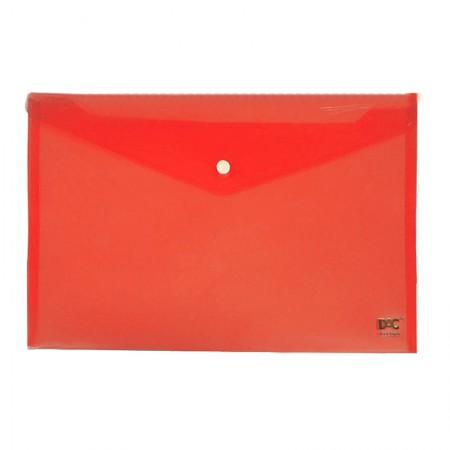 Envelope plástico com botão A4 - 653PP-VM - Vermelho - Dac