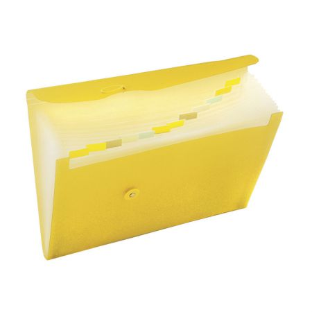 Pasta sanfonada A4 12 divisões amarela 649PP - Dac