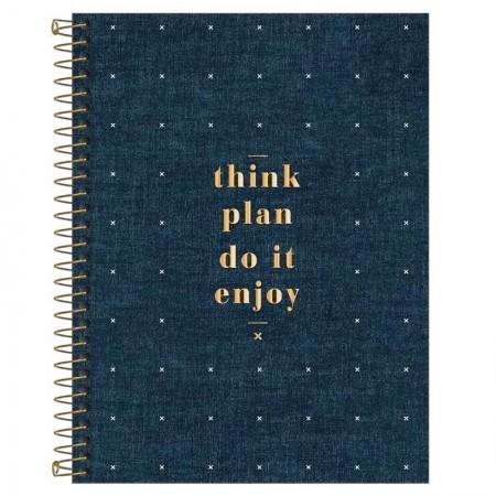 Caderno espiral capa dura universitário 1x1 - 80 folhas - Cambridge Denim - Capa 2 - Tilibra