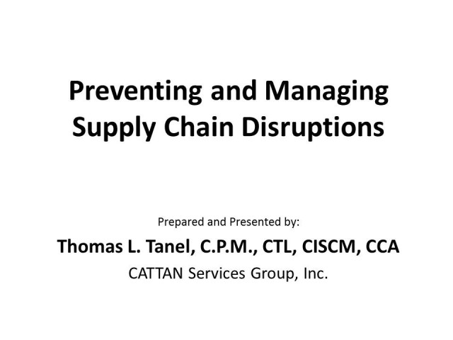 Preventing and Managing Supply Chain Disruptions
