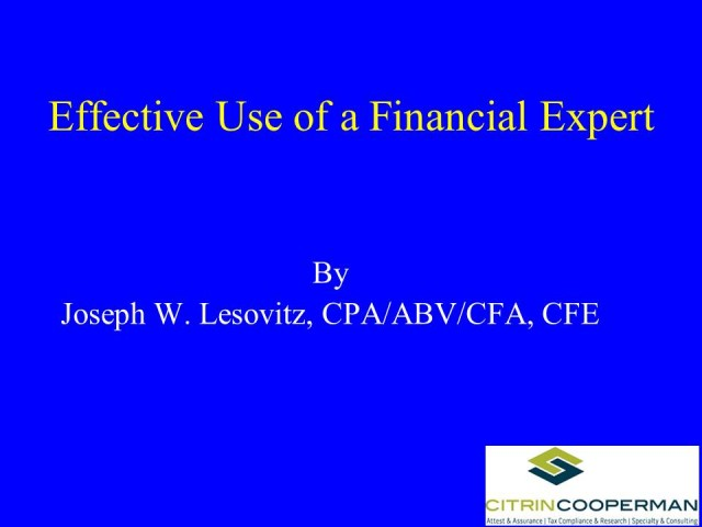 Effective Use of a Financial Expert