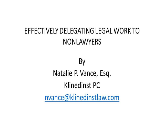 Delegating Legal Work: Proceed with Caution