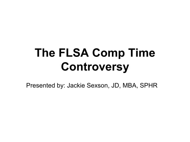 Comp Time and the FLSA
