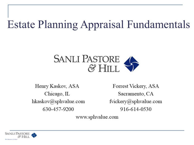 Estate Planning Appraisal Fundamentals