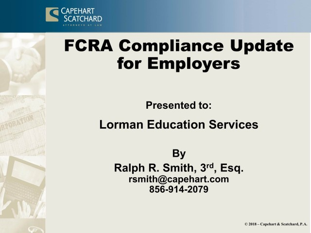 FCRA Compliance Update for Employers