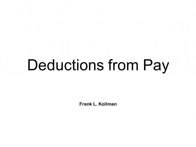 Deductions From Pay