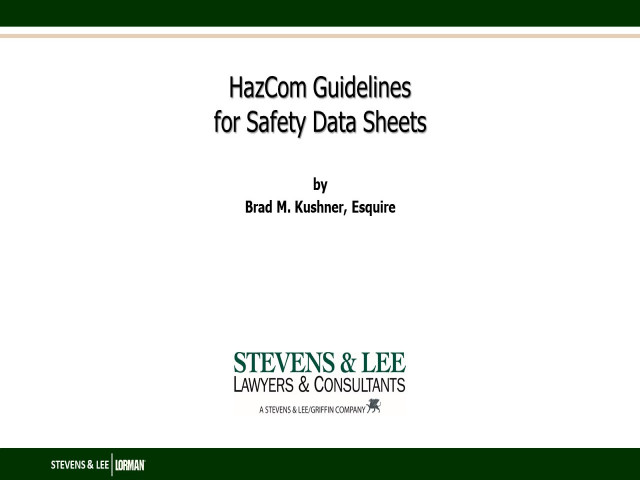 HazCom Guidelines for Safety Data Sheets