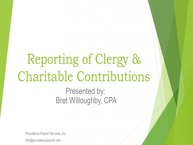 Reporting of Clergy and Charitable Donations