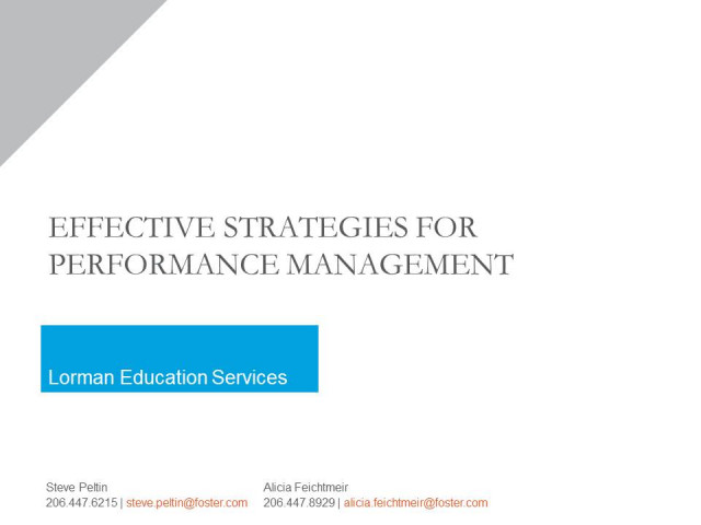 Effective Strategies for Performance Management