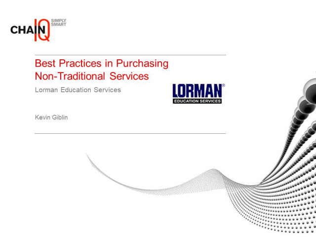 Best Practices in Purchasing Non-Traditional Services