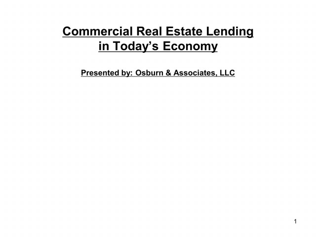 Commercial Real Estate (CRE) Lending in the Economy
