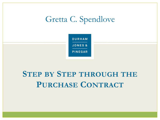 Step by Step Through the Purchase Contract
