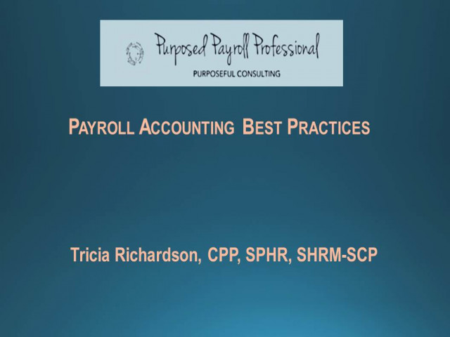 Payroll Accounting Best Practices