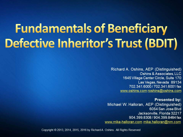 Fundamentals of Beneficiary Defective Inheritor's Trust