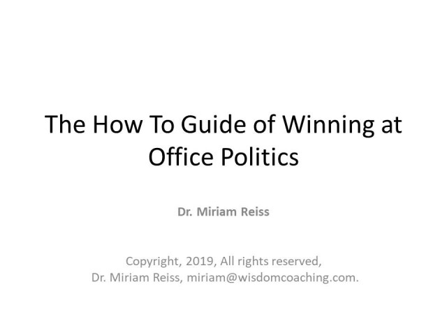 The How To Guide of Winning at Office Politics