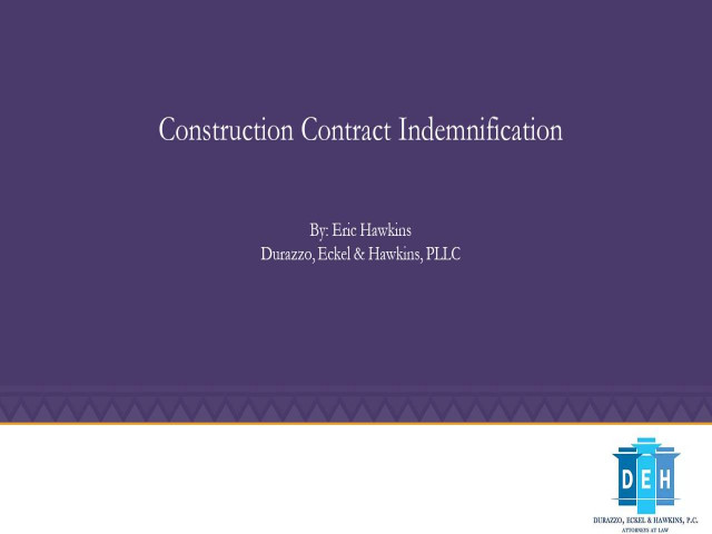 Construction Contract Indemnification