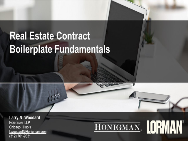 Real Estate Boilerplate Contract Fundamentals